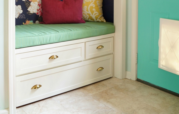 Before and After: Mudroom Bench and Pet-Feeding Station