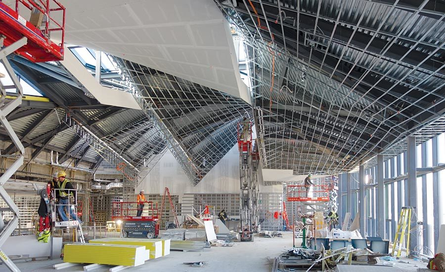 Drywall Grid Earns High Marks: University of Toronto Installs Complex Drywall Ceiling