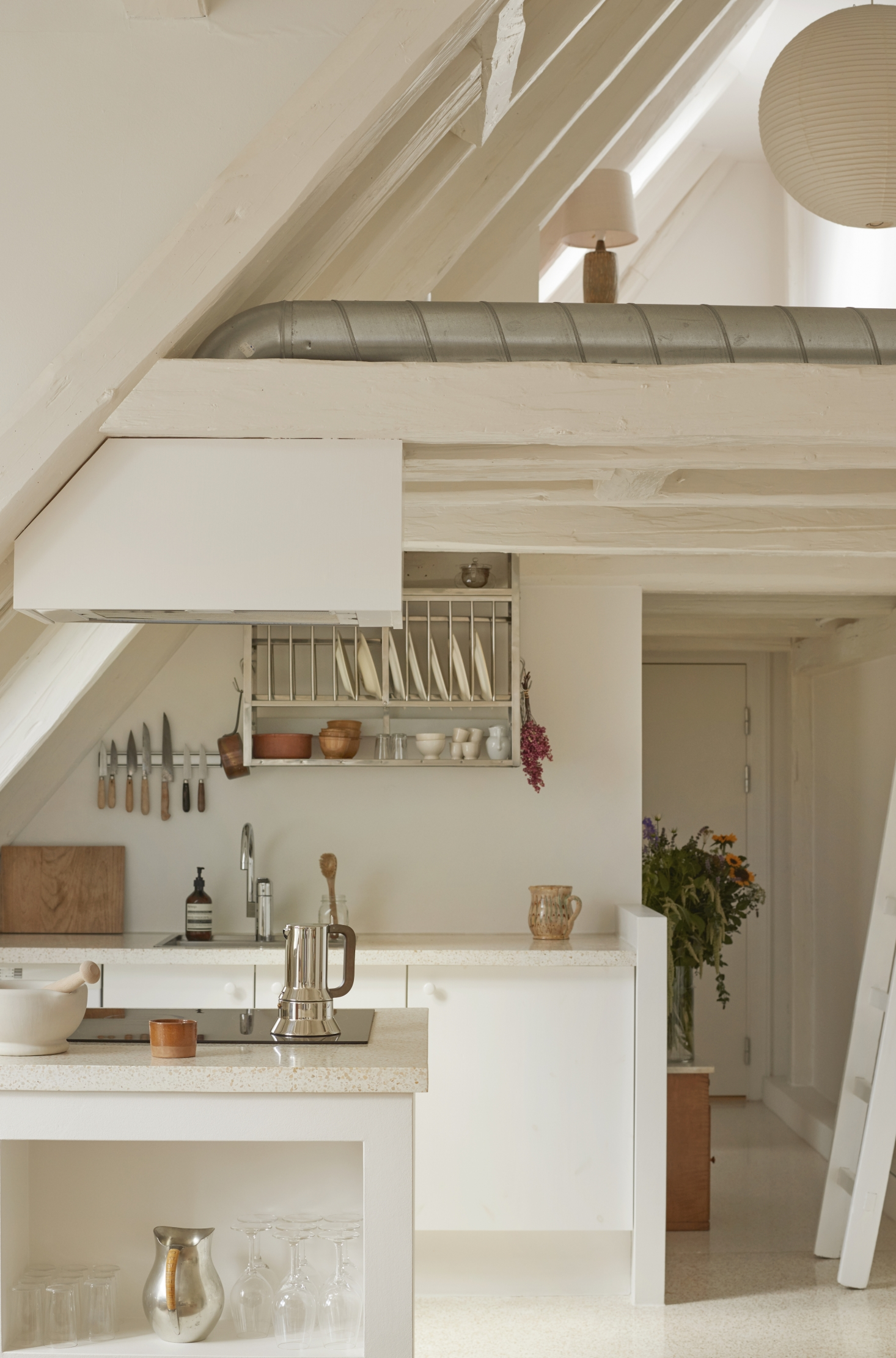 Steal This Look: A Pale and Perfect Under-the-Eaves Kitchen in Copenhagen