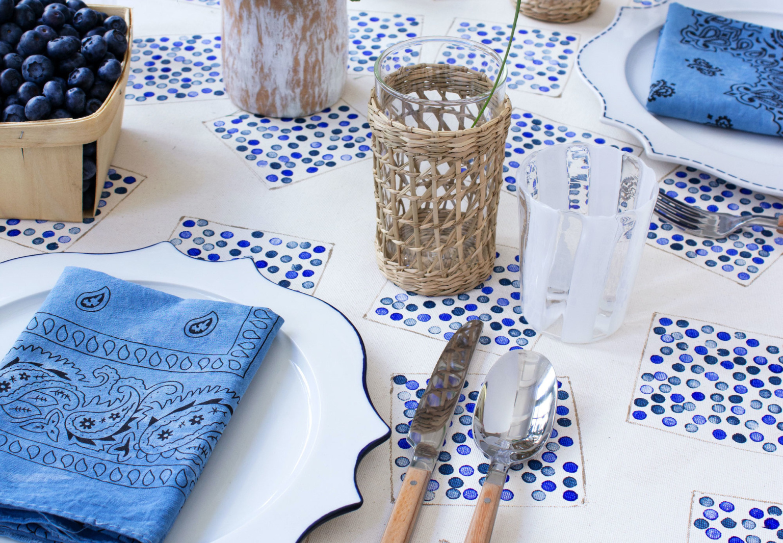 Fourth of July DIY: An Easy-Breezy Blueberry-Inspired Tablecloth by David Stark