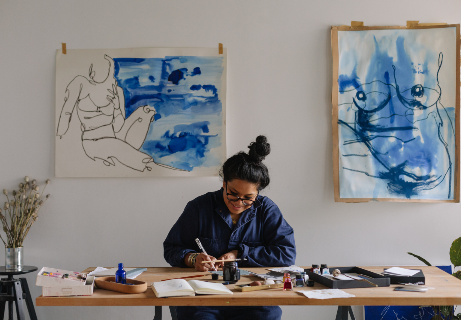 The Body in Blue: Laxmi Hussain's London Home and Studio Showcase Her Figural Art